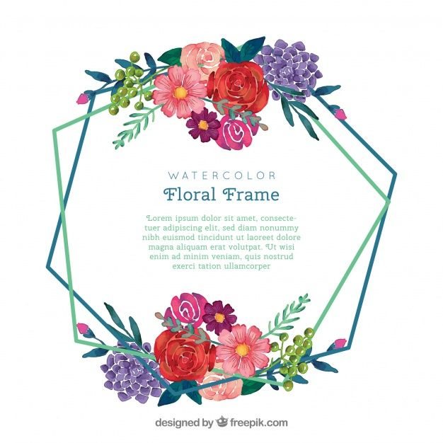 Download Watercolor Floral Frame With Elegant Style For Free