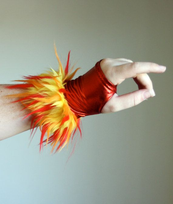 Furry Red Fire Fingerless GLOVES - Dragon -  Burning Man - Cosplay - Costume - Unique Gift - Kawaii on Etsy, $22.00