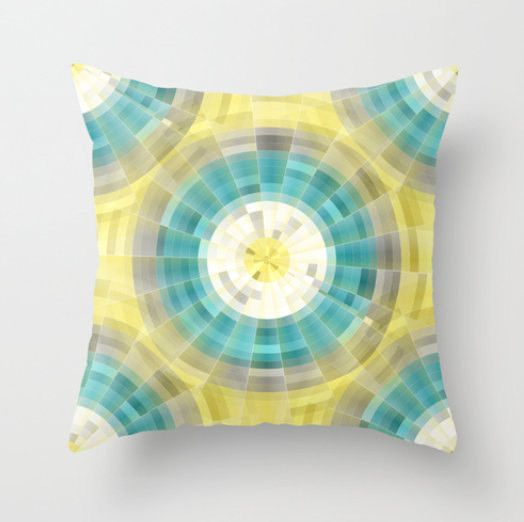 Geometric Throw Pillow Cover In Teal Yellow Grey White Modern Home Decor  Living Room Bedroom Accessories