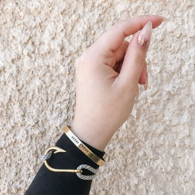 Rose Gold Heart Fish Hook Bracelet With