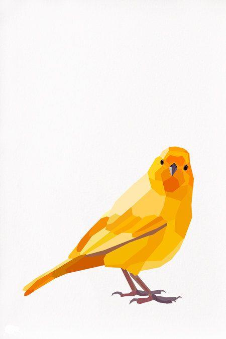 Geometric illustration Saffron finch by tinykiwiprints