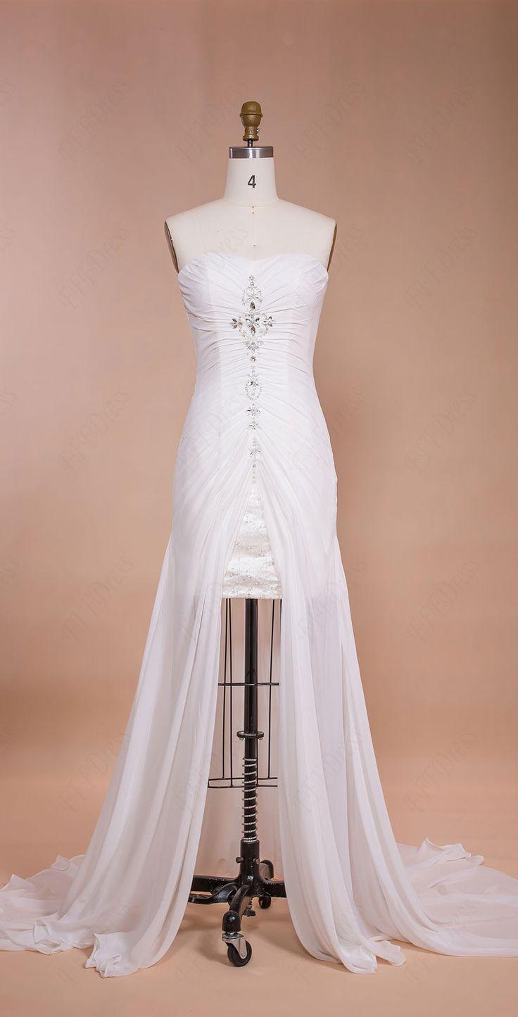 Short wedding dress with long train chiffon beach wedding for Short wedding dress with long train