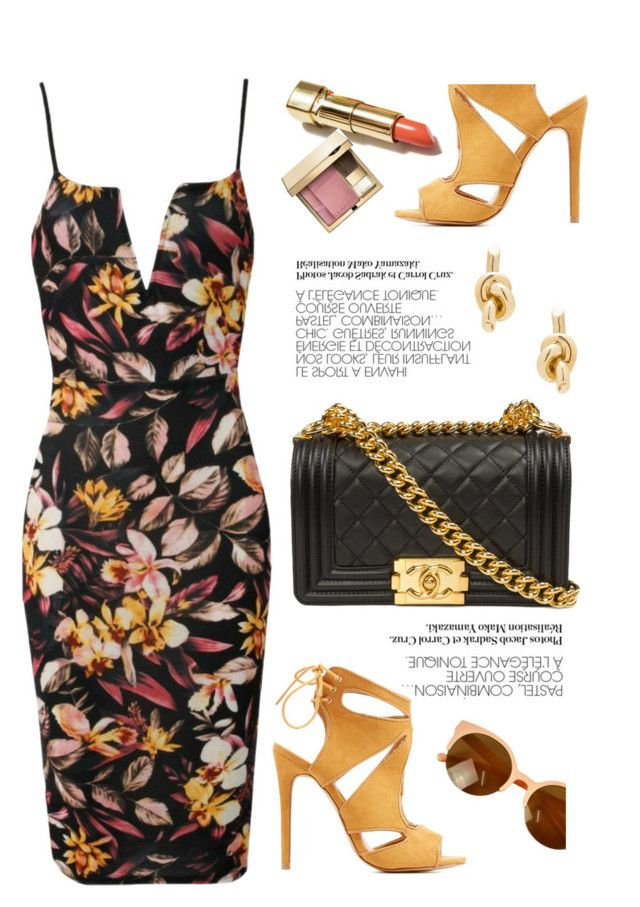 """Floral"" by luvsassyselfie ❤ liked on Polyvore featuring Charlotte Russe, Balenciaga, Clarins, yellow and floral"