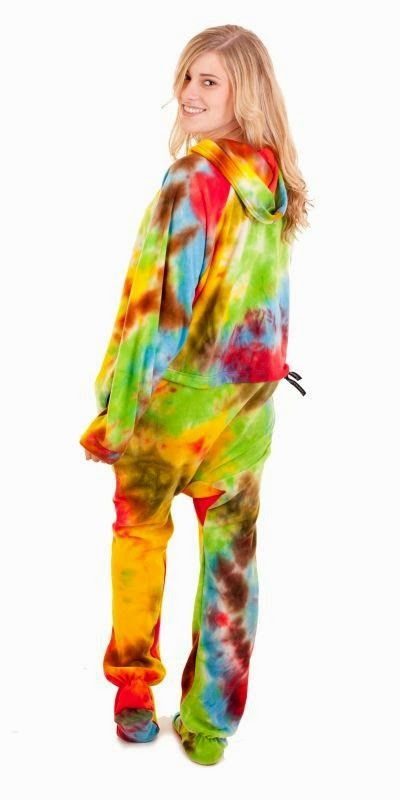 Tie Dye Deluxe Footed Adult Onesies, Footed Pajamas, One Oiece Footie PJs