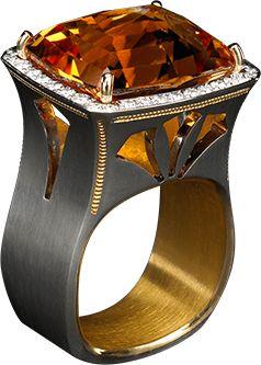 Citrine Ring Black