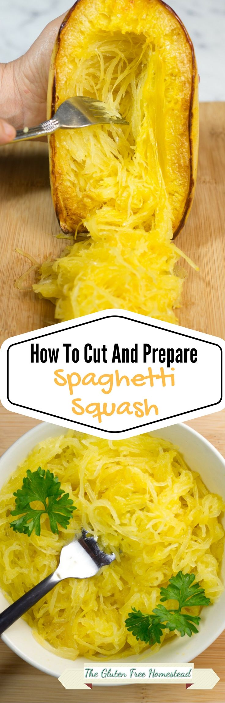 How to cut and prepare spaghetti squash with cooking tips and step by step photos, for a delicious spaghetti squash side dish.