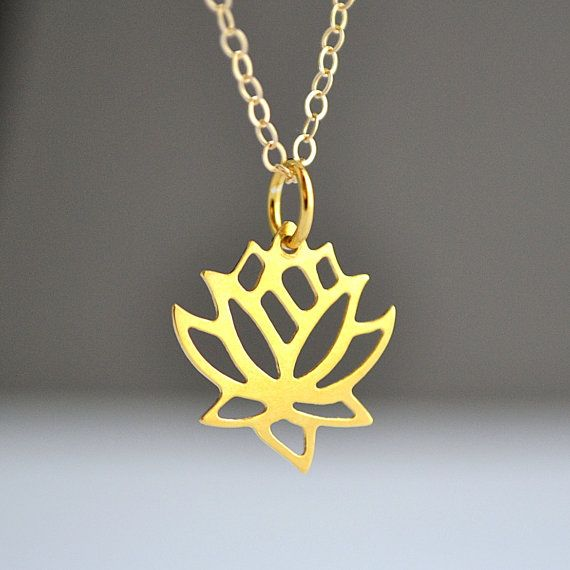 Lotus necklace 25 pinterest lotus necklace gold lotus flover necklace yoga necklace lotus charm lotus pendant mozeypictures Image collections