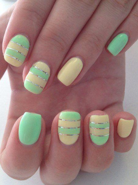 Beautiful nails 2016, Beautiful summer nails, Bright summer nails, Manicure by summer dress, Manicure by yellow dress, Mint lemon nails, Nail art stripes, Nails ideas 2016