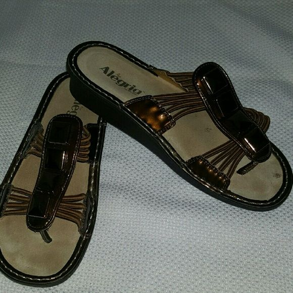 Cute Alegria Sandals Bronze leather with bronze elastic.  In excellent, gently worn, condition. Alegria Shoes Sandals