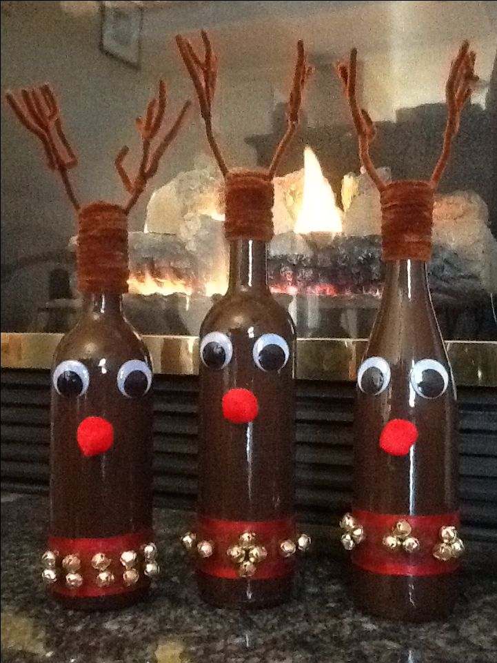wine bottle crafts reindeer wine bottles cheer 3231