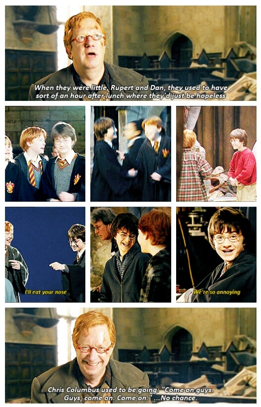 "Harry Potter: ""When they were little, Rupert and Dan, they used to have sort of an hour after lunch where they'd just be hopeless."" (gif)"