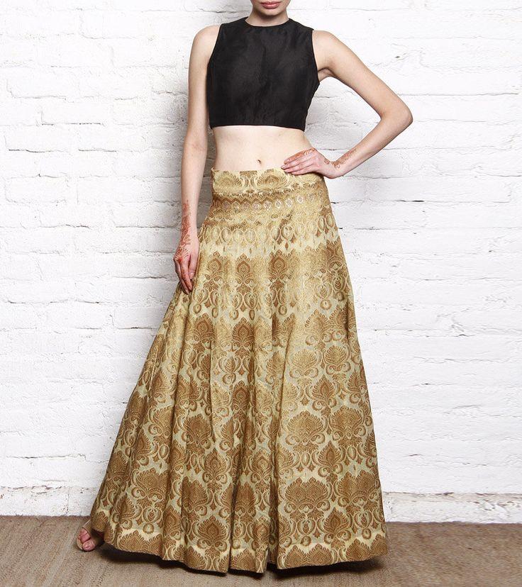 Golden Banarasi Brocade Lehenga With Black Silk Crop Top