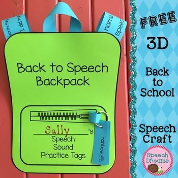 Back to School Speech Therapy 3D Backpack Craft FREEBIE
