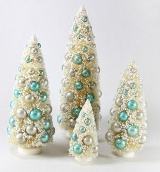 Ivory & Ice Blue Bottle Brush Trees