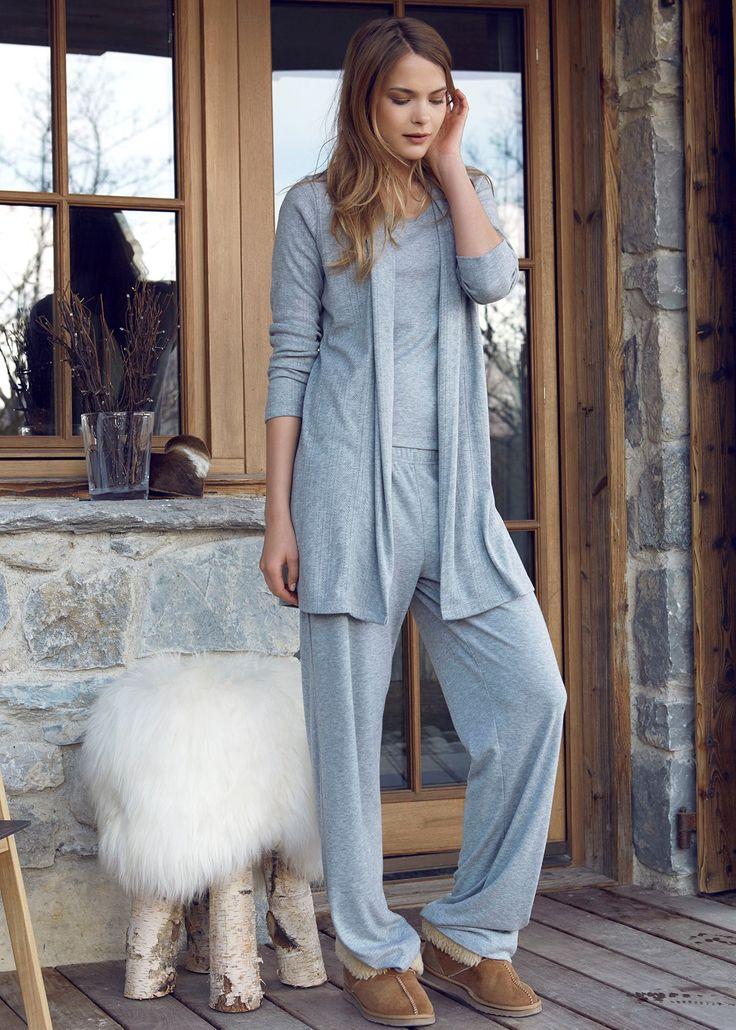 Penye Mood 7838 Büyük Beden 3'lü Pijama Takım   Mark-ha.com