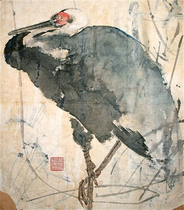 Asian watercolor bird painting