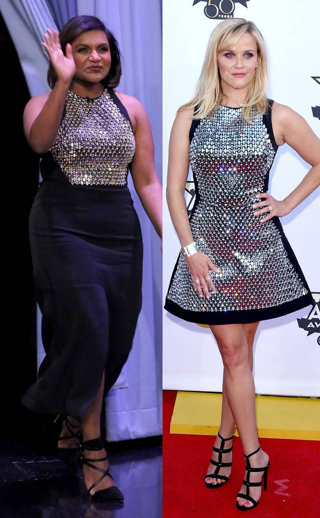 Mindy Kaling, Reese Witherspoon from Bitch Stole My Look!  The Mindy Project star joined The Tonight Show on Dec. 3 and donned a similar David Koma ensemble as the one her good friend rocked at the 2015 ACM Awards.