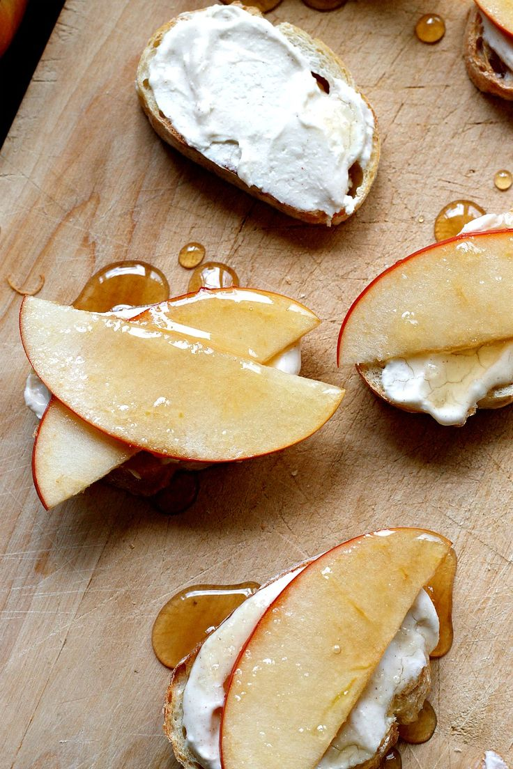 Cinnamon Whipped Feta and Honey Drizzled Apple Crostinis - a delicious appetizer!