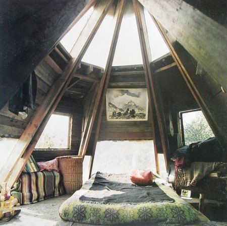 Attic bedroom / this reminds me of the Witches Hat at Castle Yonder