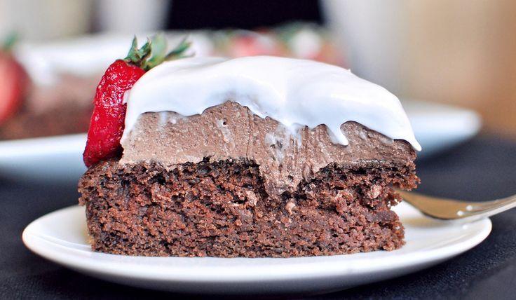 Vegan chocolate mousse cake w/coconut cream whip