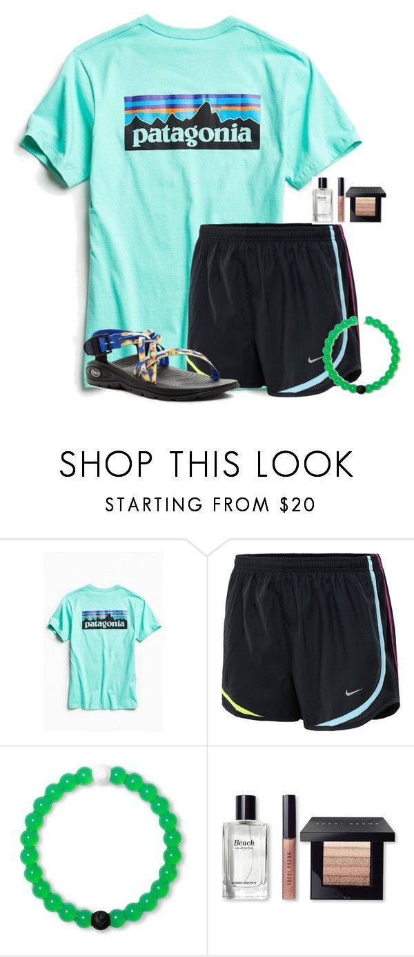nike shoes 55 days until camp:) by flroasburn ❤ liked on Polyvore featuring Patagonia, NIKE, Bobbi Brown Cosmetics and Chaco