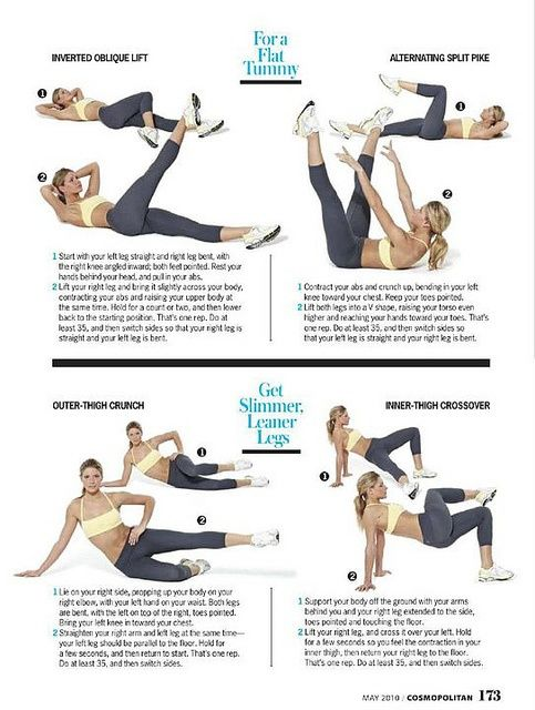 For A Flat Tummy: Inverted Oblique Lift and Alternating Split Pike. AND Get Slimmer, Leaner Legs: Outer-Thigh Crunch and Inner-Thigh Crossover.