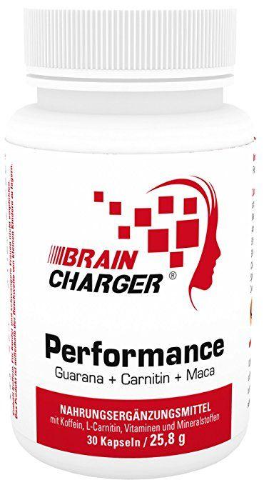 Braincharger Performance - gegen Müdigkeit + für geistige Leistung mit Guarana, Koffein, Maca, Ginkgo, Carnitin, Vitamine, 30 Kapseln, 1er Pack (1 x 25,8 g)