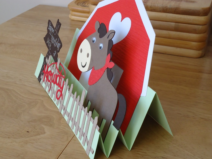 Side view of horse and stable card made using Cricut Create a Critter