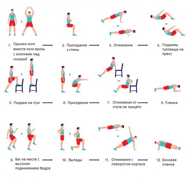 Эта 7-минутная зарядка способна заменить полноценное занятие вспортзале. Упражнения нужно выполнять короткими сетами продолжительностью 30 секунд.