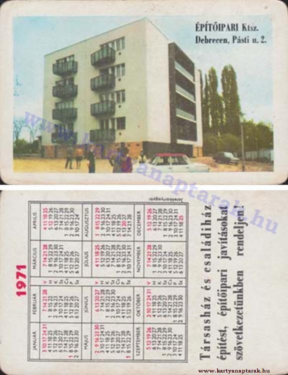1971 - 1971_0574 - Régi magyar kártyanaptárak