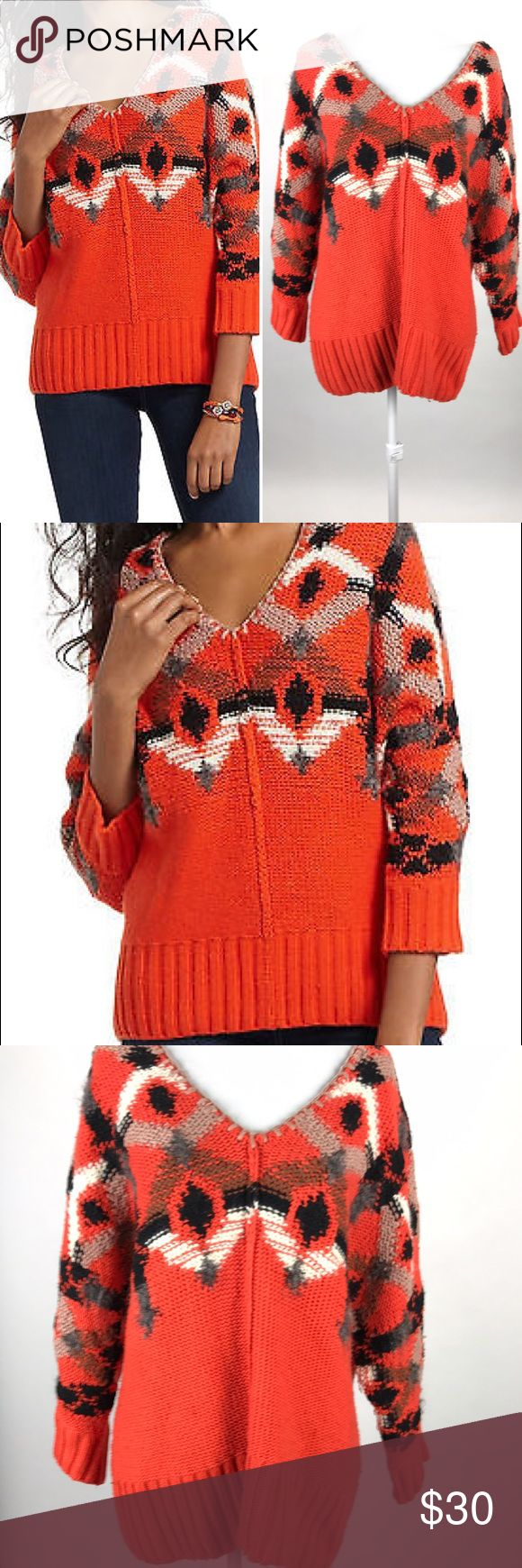 FIETS VOOR 2 Orange Pullover Sweater Anthropologie Gorgeous sweater from Anthro!  Size medium Cotton / wool blend with small mohair sections  VGUC - some light wash wear but overall very nice Anthropologie Sweaters V-Necks