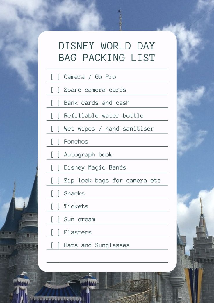 Packing checklist for day trip to Walt Disney World Florida. Get your free handy printable by heading over to my website. There's handy boxes to check off as you pack. Extensive list of everything you will need for the perfect day bag to Disney world #waltdisneyworld #disneyworld #disney #familytravel #travel #travelblogger #checklist #printable