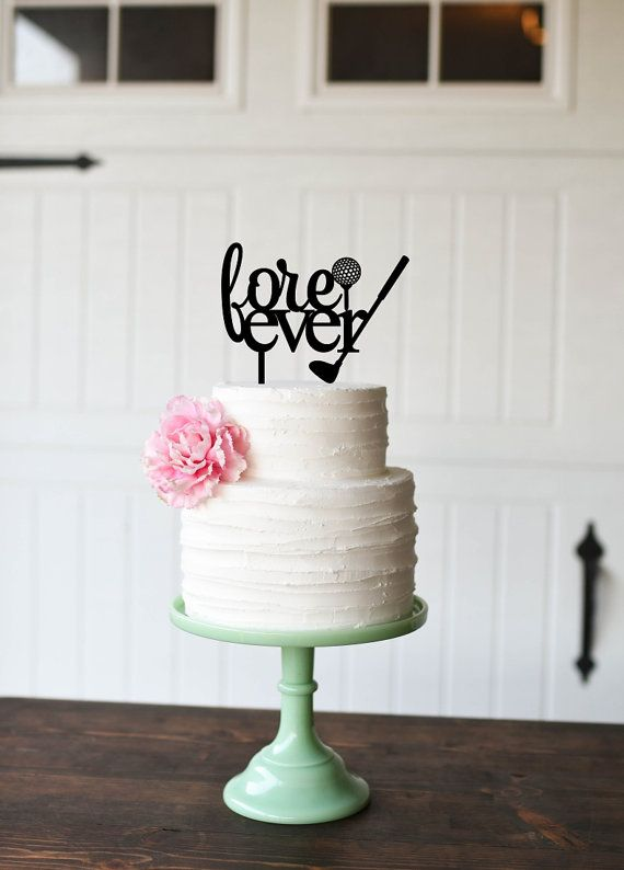 Golf Wedding Cake Topper Wedding Cake Topper by ThePinkOwlDesigns