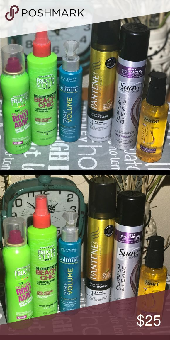 Hair Care Bundle! Like new products! I only used them once. Products: Garnier Fructis (Root amp and Beach Chic texturizing spray), John Frieda (7 day volume), Pantene (Volume Mousse), Suave (Dry Shampoo and anti- breakage serum). Other