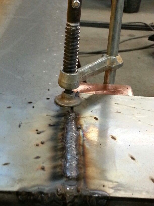 Use copper to absorb heat when welding thin metals.