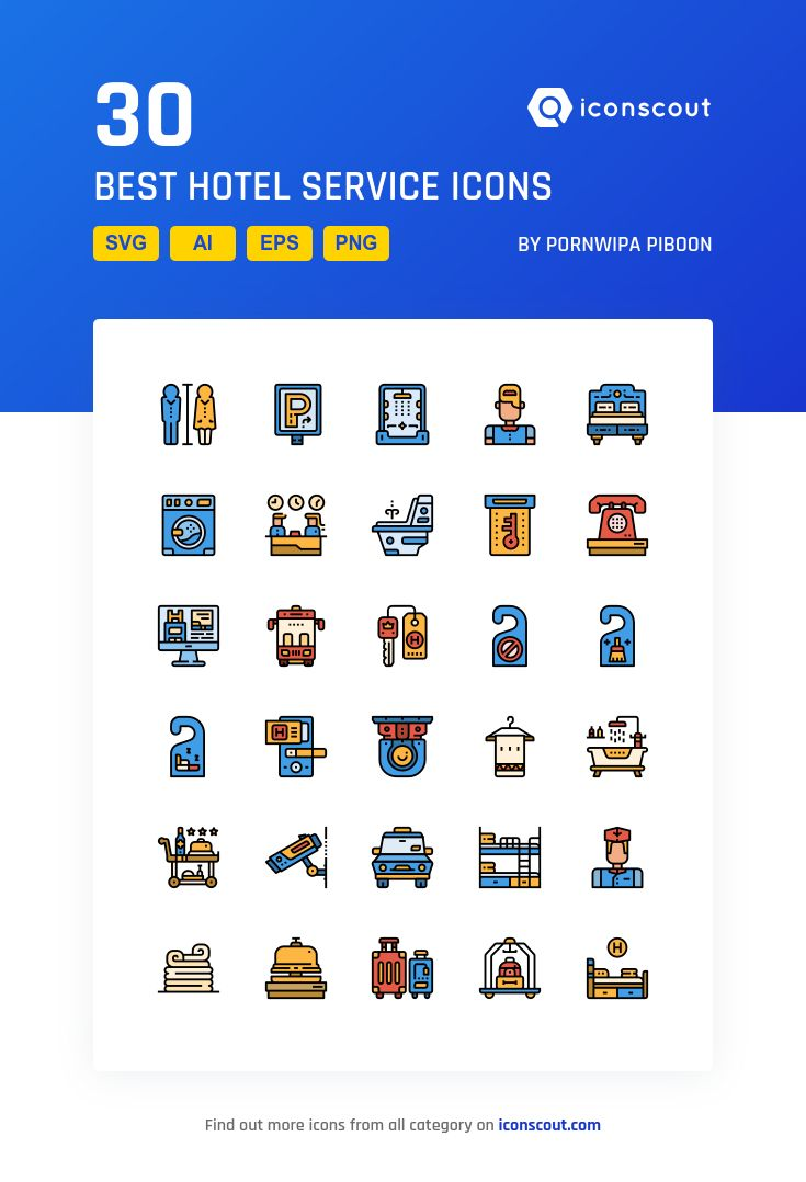 Best Hotel Service   Icon Pack - 30 Filled Outline Icons