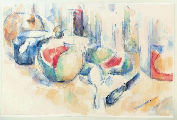 Paul Cezanne, Still Life with Cut Watermelon, watercolor, Cezanne's Watercolors & Compositions   Paint Watercolor Create http://paintwatercolorcreate.blogspot.com/2014/01/cezannes-watercolors-compositions.html