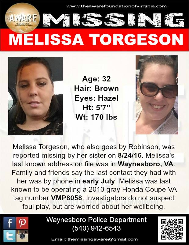 ***MISSING*** MELISSA TORGESON, Age 32, was last seen in WAYNESBORO, VA PLEASE SHARE!