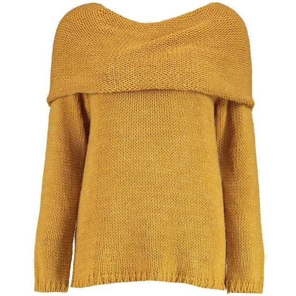Boohoo Bethany Bardot Jumper | Boohoo (333.375 IDR) ❤ liked on Polyvore featuring tops, sweaters, jumper top, boohoo jumpers, brown sweater, brown tops and jumpers sweaters