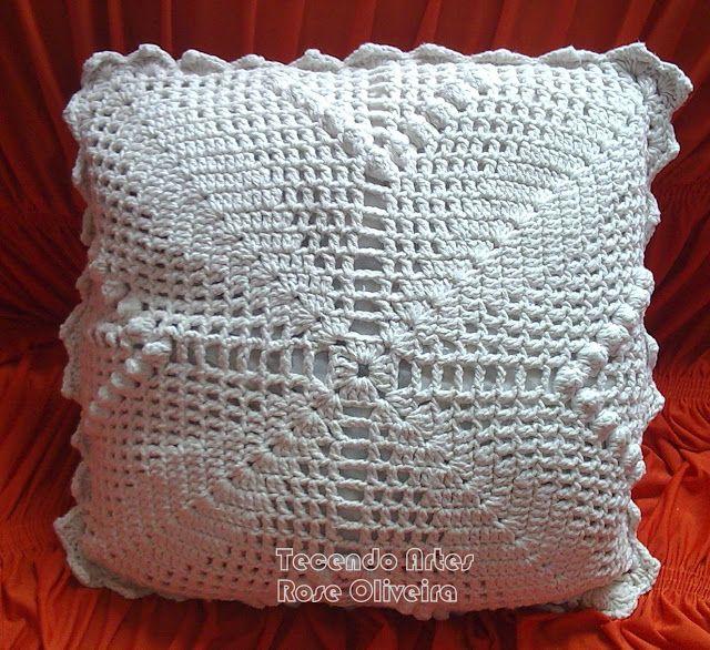 Tecendo Artes em Crochet: Almofada em Barbante