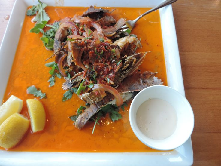 what I had for lunch 30th Dec 2014 - Buderim Tavern.  Moreton Bay bugs in lime and chilli sauce - was yum