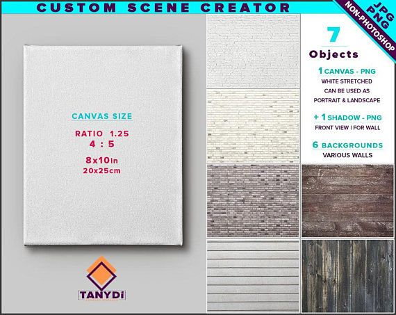 Blank Stretched Canvas On Wall Floor Custom Scene Creator Vertical Horizontal Png White Canvas 8x10 16x20 24x30 Non Photoshop File Custom Scene Scene Creator Stretch Canvas