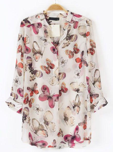 Blusa mariposa manga larga-Blanco EUR€19.59