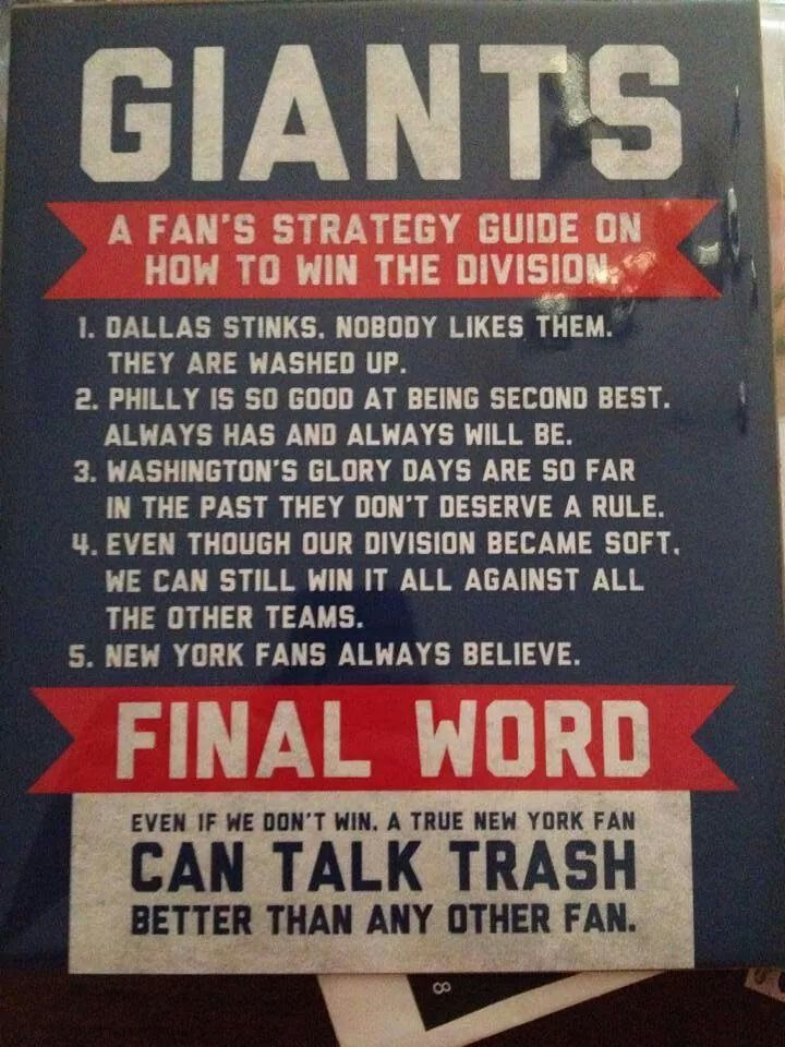 A Fan's Strategy Guide....New York Giants!
