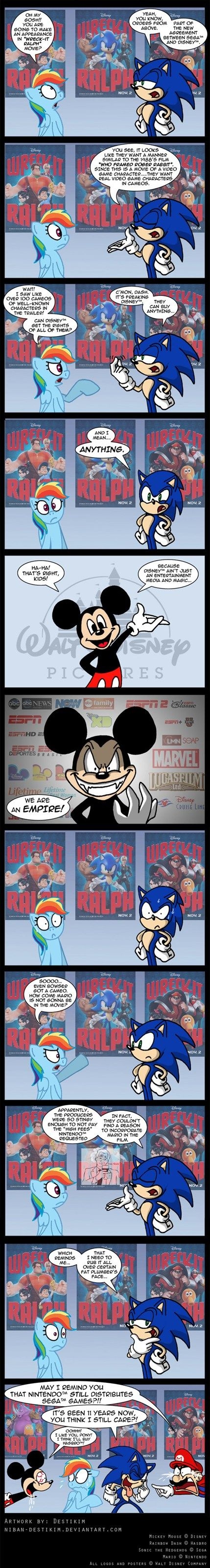 Sonic explains why he gets to be in Wreck it Ralph. DISNEY IS AN EMPIRE Hahaha!!!