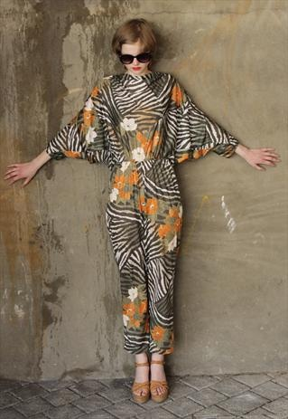 Vintage 1970's Green Tiger Animal Print Tropical Jumpsuit
