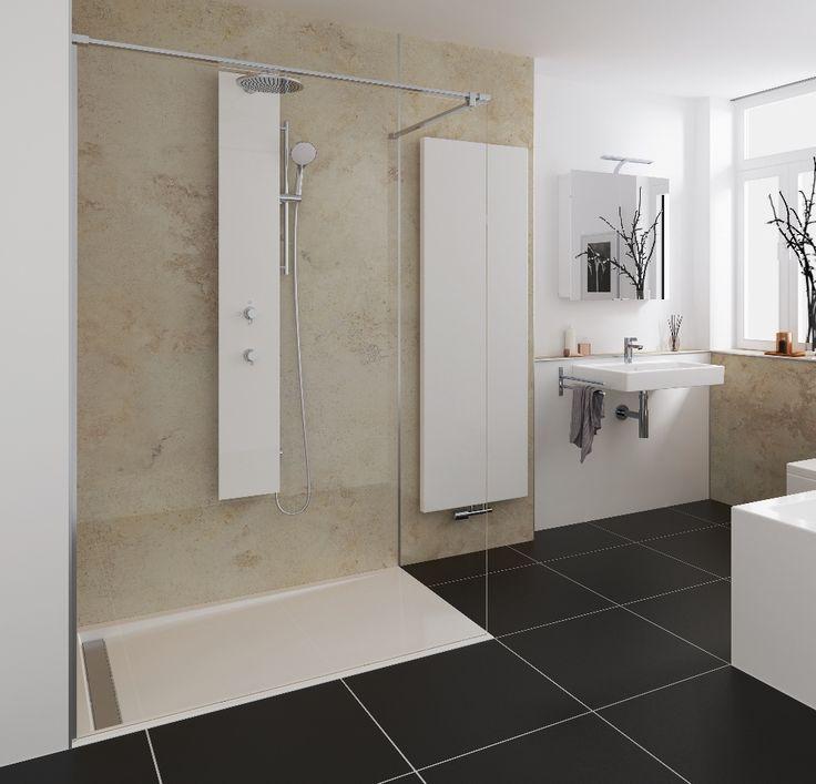 Inloopdouche met douchepaneel van HSK. Het nieuwe Walk In Pro Concept zet met het deelbare frontpaneel een nieuwe maatstaf voor de badkamerplanning: Ze kan eenvoudig door een nauw trappenhuis of moeilijke doorgangen worden getransporteerd en ter plaatse worden gemonteerd. Dat biedt geheel nieuwe mogelijkheden