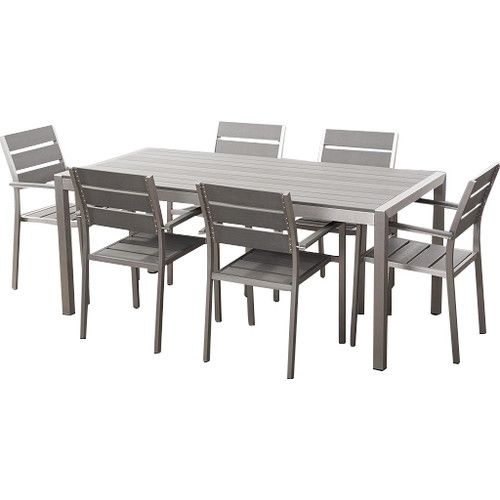 Aluminum And Faux Wood Outdoor Dining Set And 6 Chairs   Vernio Brown Part 73