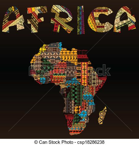 African Map Fabric   Vector - Africa map with African typography made of patchwork fabric ...