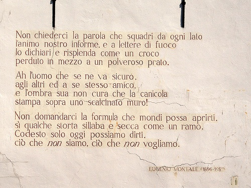 Eugenio Montale, poem on a wall in Leiden (NL).